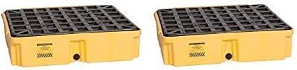 Pack of 2 Eagle 1633D Yellow 1 Drum Modular Platform with Drain
