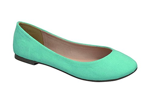 Breckelle's Women's Pointed Toe Slip on Ballet Flats, Trendy Shoes Abby-31 Aqua TS Size 8 -