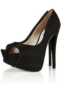 757f8f46538f65 Topshop schwarz Peeptoe Plattform Heels Schuhe Stiefel Wohnungen UK 6 Euro  39 US 8