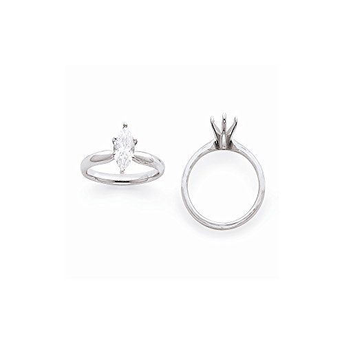 14k White Gold 5/8ct. Tulip Head Comfort-fit Marquise Solitaire Semi-Mounting, No Center Stone ()