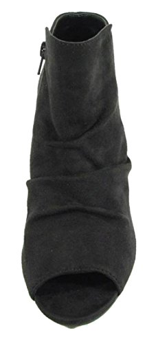 Toe Bootie Peep Women's Black Wedge Ankle Suede Ruched Classified City qpAx66