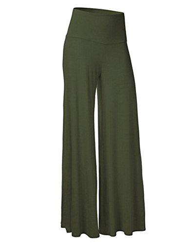Gamba Loose Pantaloni Pantaloni Donna Spiaggia Esercito Larga Casual Boemia Palazzo Verde Pantaloni 4wqE0qS8