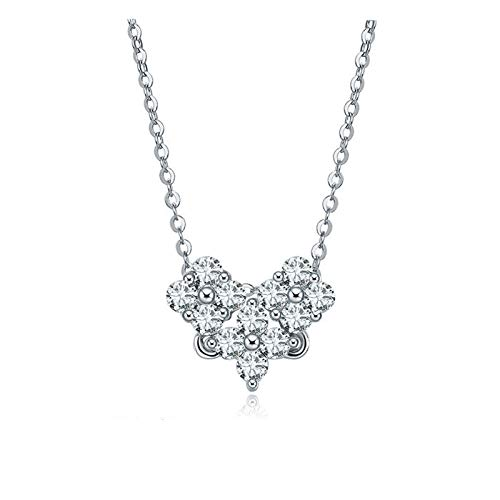 Beydodo Silver Pendant Necklace Heart Diamond Crystal Necklace Wedding Flower Heart Round Cubic Zirconia