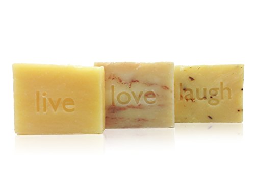 Lemongrass Gift (Live Love Laugh Handmade Soap Gift Set, Citrus Lavender, Sandalwood Rose, Lemongrass Sage, Vegan, Organic, 100% Natural)