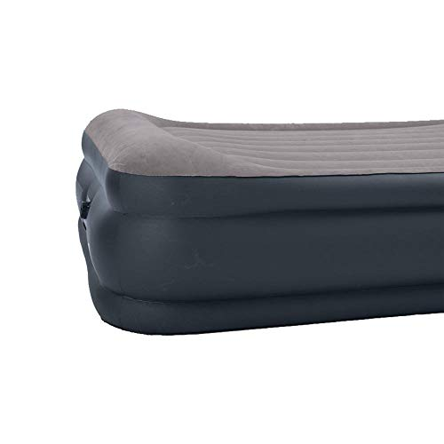 Intex Deluxe Pillow Rest Raised Airbed with Soft Flocked Top for Comfort, Built-in Pillow and Electric Pump, Queen, Bed Height 16 3/4″
