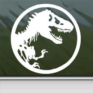 Amazoncom jurassic park white sticker decal t rex for Best 20 jurassic park wall decal