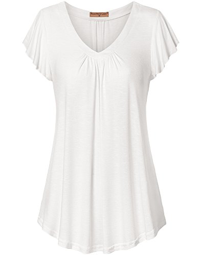 (Meow Meow Lace MML Women's V Neck Pleated Short Sleeve Blouse Top Tunic Shirt White 2XL)