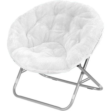 Mainstay Saucer Chair, White + Reusable Cloth