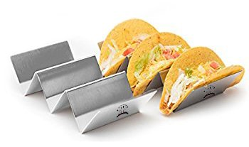 Diner's Choice Restaurant Grade Taco Holder | Stainless Steel | 8in x 4 in | Dishwasher, Oven, and Grill Safe | Easy Clean | Durable | Reusable (2-pack)