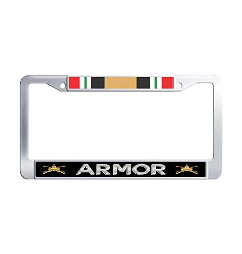 U.S. Army Armor Iraq Veteran License Frame car, 2 Holes Licenses Plates Frames, Metal Stainless Steel Car Licenses Plate Covers Holders US Screws