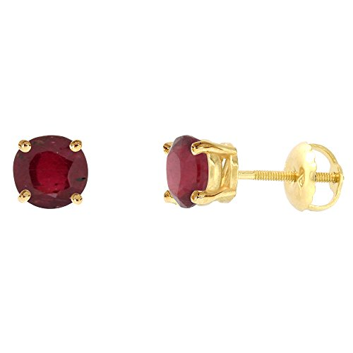 - 6mm 14k Yellow Gold Enhanced Genuine Ruby Stud Earrings Screw Back Round 2 cttw/pr