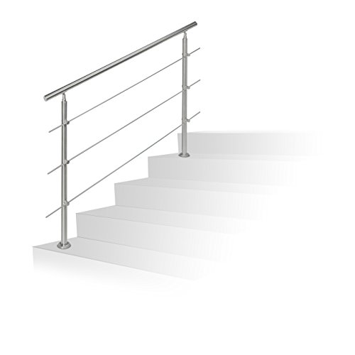 Relaxdays Stainless Steel Handrail Set, for Indoors and Outdoors, Bannister, 1.5 m Long, 2 Posts, 3 Crossbars, Silver