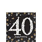 40th Birthday Party Supply Pack - Sparkling Celebration Dinnerware (serves 8 guests)