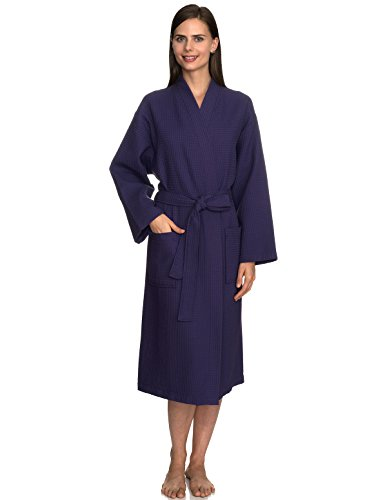 TowelSelections Turkish Bathrobe Waffle Kimono Robe for Women and Men Medium/Large Mulberry Purple ()