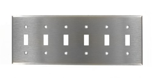 Leviton 84036-40 6-Gang Toggle Device Switch Wallplate, Device Mount, Stainless - 6 Toggle Wall Plate