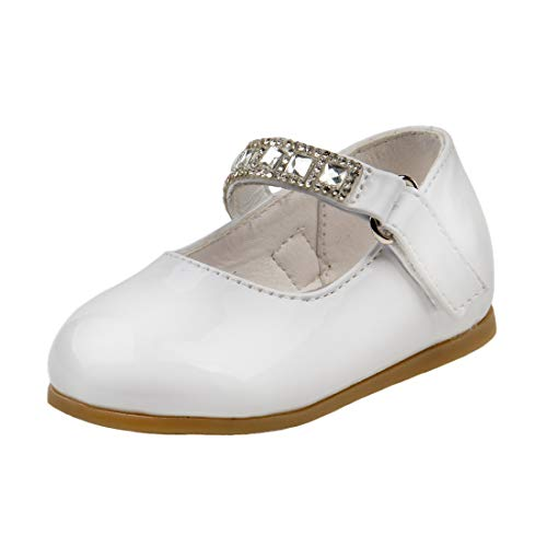 Toddler Stone - Josmo Baby Girls Mary Jane Ballerina Patent Dress Shoes Jewel Strap, White Stone, 5 M US Toddler'