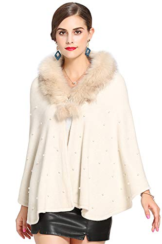 MisShow Women's Ivory Soft Faux Fur Cloak Coat Shawl Wraps with Batwing Sleeve