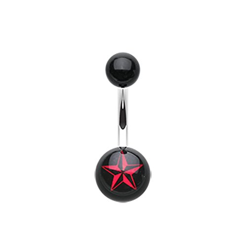 14G Nautical Star Acrylic Inspiration Dezigns Belly Button Ring (Sold Individually)