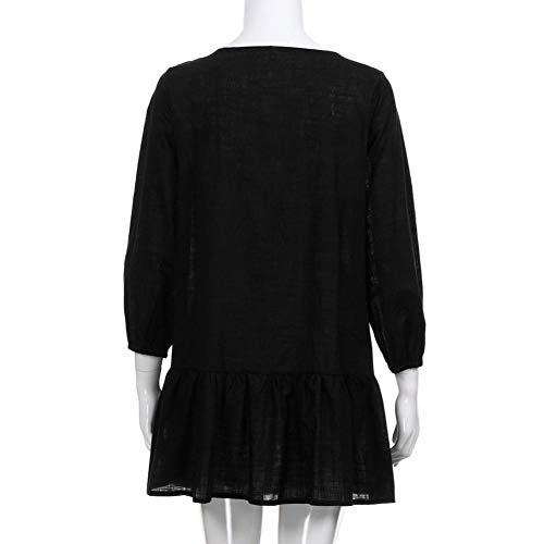 SóLido BotóN De Partido Corta Larga Mujeres Negro En DEELIN Mini Vestido Color con Las del Manga De Cuello Falda del V Nuevas Ocasionales Vestido del n1n7WqI