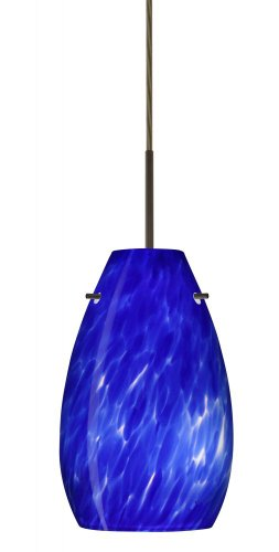 (Besa Lighting 1JT-412686-BR Pera 9 Collection 1-Light Mini-Pendant, Bronze Finish with Blue Cloud Art Glass Shade)