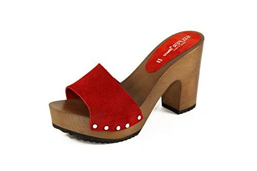 camoscio Stare Rosso Zoccolo Colore per Legno Ideale Anche in casa Vero e in di Pelle Shoes Silfer 6vwqpx8p