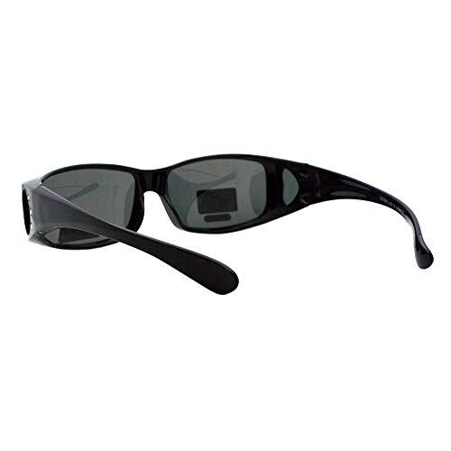 Womens Polarized Fit Over Glasses Sunglasses Rhinestone Rectangular Frame (black, 57) by JuicyOrange (Image #2)