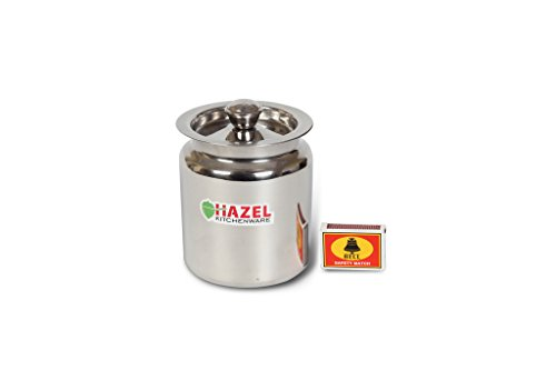 Hazel Stainless Steel Oil/Ghee Storage Container, 800 ml, Silver
