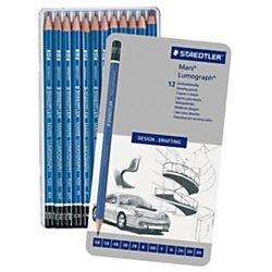 STAEDTLER premium quality drawing pencil, Mars Lumograph, graphite pencil set in metal tin, break-resistant super-bonded lead, design set of 12 degrees, 100 (Stationery Tin)