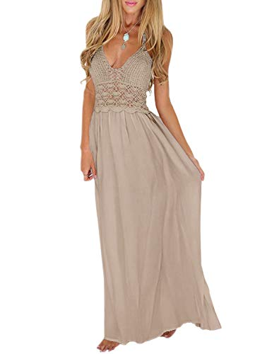 LILBETTER Women's Beach Crochet Backless Bohemian Halter Maxi Long Dress (XL, Khaki)