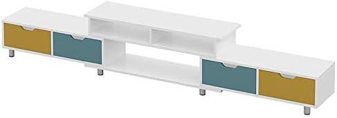 テレビキャビネット テレビキャビネットテレビローボードのためにテレビDVDレコーダーレシーバーホワイトのホームスタンド 引き出し付き家庭用大容量収納キャビネット (Color : White, Size : 160-210x30x37cm)