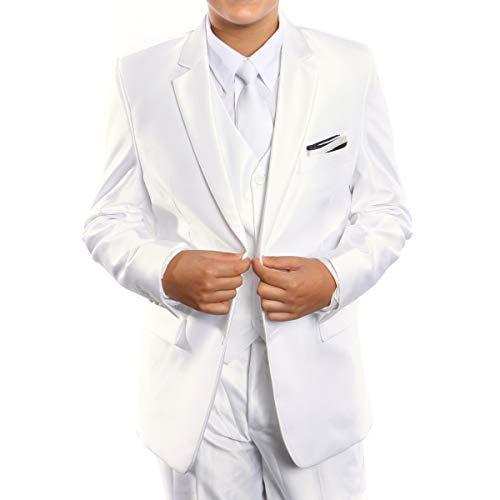 (Boys Suit Modern Fit Sharkskin Notch Lapel Three Piece Suits Matching Shirt & Tie)