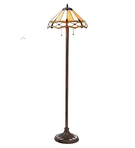 Handmade Stained Glass Gold and Ruby Diamond Floor Lamp - Gold Handmade Glass