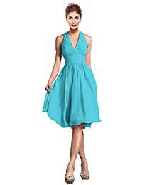 CaliaDress Women Elegant Halter Neck Bridesmaid Dress Formal Prom Gowns Short C200LF
