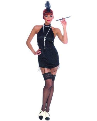 On The Fringe Sexy Flapper Costumes (Charleston Sexy Flapper Short Black Bead Fringe Dress Adult Large)