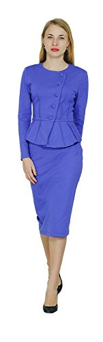 Ladies Suit (Marycrafts Women's Formal Office Business Shirt Jacket Skirt Suit 14 Blue)