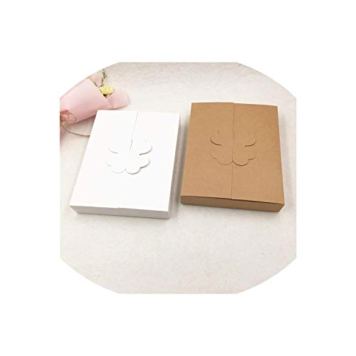 (20Pcs/Lot 1612.62.5Cm Kraft/White Paper Cake Knife And Fork Packing Box Clover Paper Boxes Party Cake Package Egg Tart Box,White,16X12.6X2.5Cm)