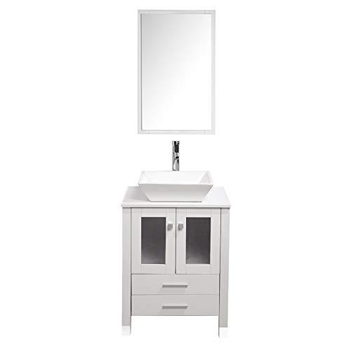 "TONYRENA Modern 24"" Bathroom Vanity Set - Cabinet With Ceramic Sink Top, Faucet, Flexible Drain & Mirrors, White"
