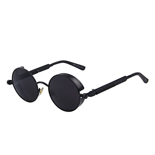 GAMT Retro Gothic STEAMPUNK Round Sunglasses Metal Frame Mirrored Circle Lens (Steampunk Sunglasses)