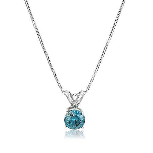 Vir Jewels 3/4 cttw Blue Diamond Solitaire Pendant Necklace 14K White Gold