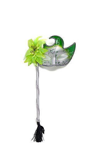 Venetian Mask Mardi Gras Masquerade Ball Vintage Carnival On a Stick Wall Decor (Silver, bright (Stick On Masquerade Masks)