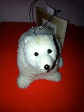 plain white flocked polar bear standing christmas tree decoration