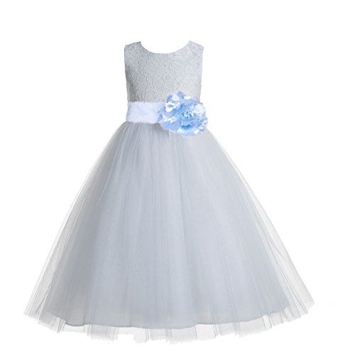 ekidsbridal Floral Lace Heart Cutout White Flower Girl Dresses Ice Blue First Communion Dress Baptism Dresses 172T 4