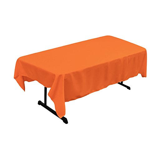 LA Linen Polyester Poplin Rectangular Tablecloth, 60 x 84, Orange