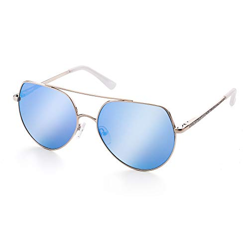 LotFancy Aviator Sunglasses for Women with Case, UV400 Protection, 58MM, Lightweight Eyewear for Driving Fishing Sports, Non Polarized, Revo Blue Mirrored Lens, Silver Metal Frame