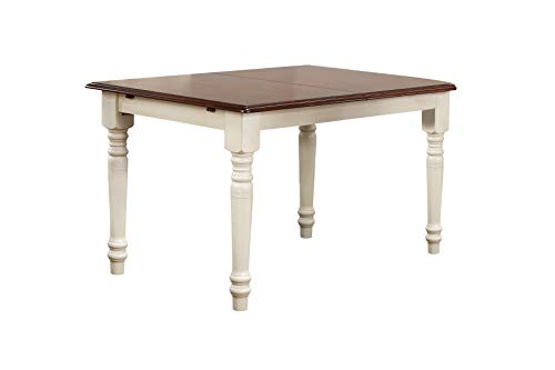 Sunset Trading DLU-TLB3660-AW Andrews Dining Table, Antique white with chestnut finish top (Round Table Extending)