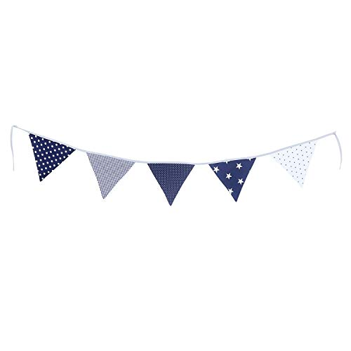 ULLENBOOM Bunting Garland Hanging Banner with 5 Pennants for Nursery Decoration, Certified Fabric, 75-inch - Blue -