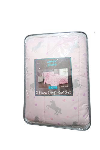 Wonder Studio Unicorns and Hearts Pink and Silver Twin Girls Comforter Set from Wonder Studio