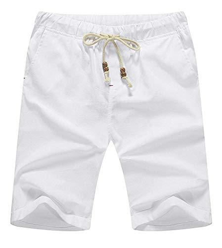 Con Abbigliamento Corti Estate Da Lino Tinta Casual Coulisse Easy Allentati Uomo Short Bianca Spiaggia Festivo In Pantaloni Unita Fit Classic Fashion Ufwzfq