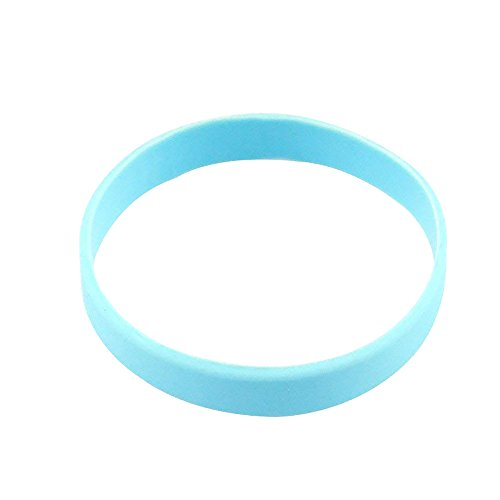 (Wholesale 3pcs/Set Plain Blank Silicone Wristband Rubber Bracelets Sky Blue)