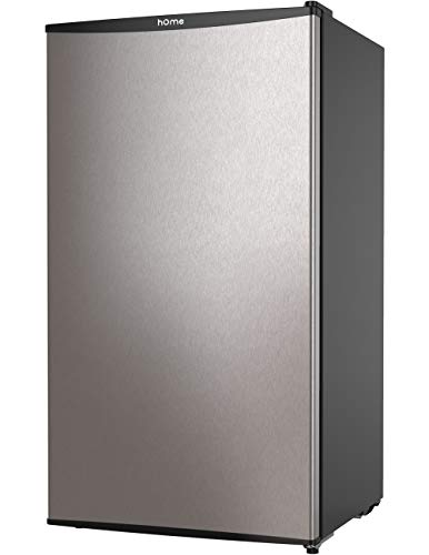 hOmeLabs Mini Fridge - 3.3 Cubic Feet Under Counter Refrigerator with Covered Chiller Compartment - Small Drink Food Storage Machine for Office, Dorm or Apartment with Removable Glass Shelves (Energy Reviews Efficient Doors Patio)